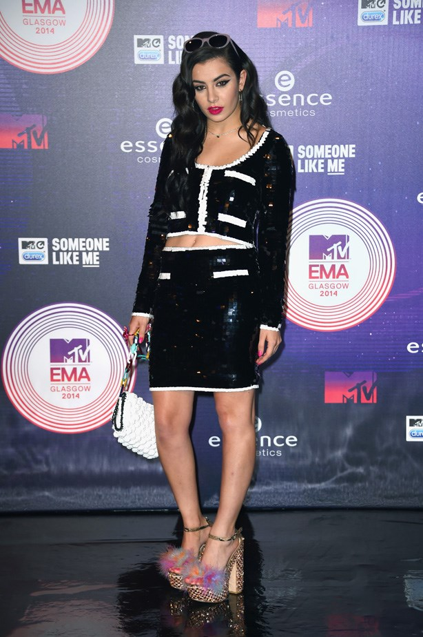 Charli XCX's sequined skirt suit was anything but corporate.