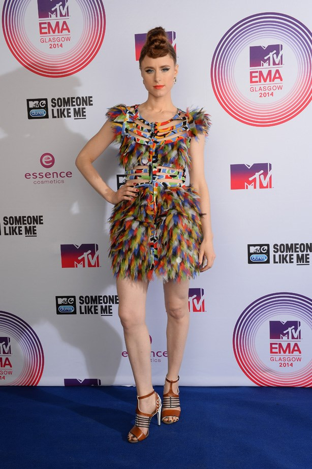 Kiesza wore all the colours of the rainbow thank to her feathered party frock.