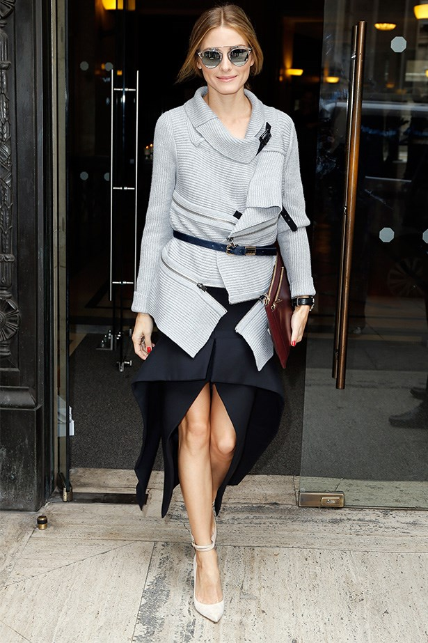 Olivia Palermo supporting Australia Designer, Toni Maticevski with his killer skirt as seen at Paris Fashion Week.