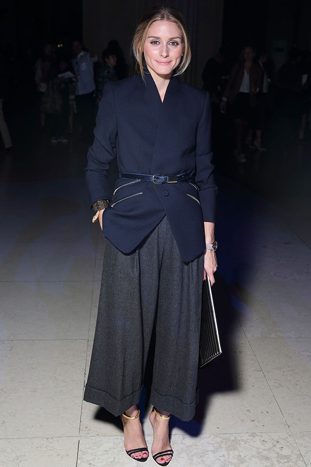 Olivia Palermo at the Matthew Williamson SS15 show proves culottes are still a must have this season.