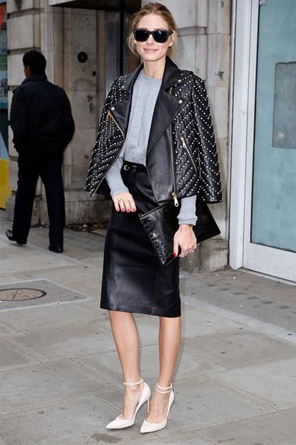 Who said leather on leather is off limits? Olivia Palermo confirms it's a combination worth trying.