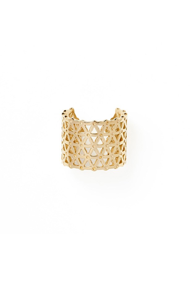 "Ring, $159, By Charlotte, <a href=""http://bycharlotte.com.au/products/flower-of-life-gold-ring"">bycharlotte.com.au</a>"