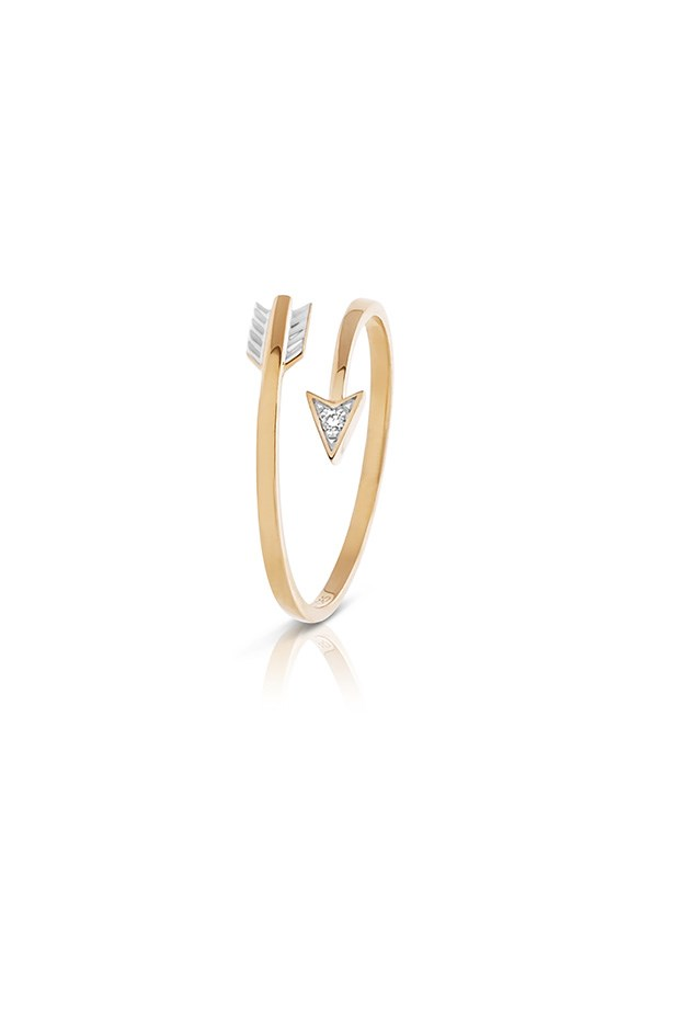Ring, $265, Claire Aristides, http://www.aristidesfinejewels.com/diamond-arrow-ring-in-yellow-gold/