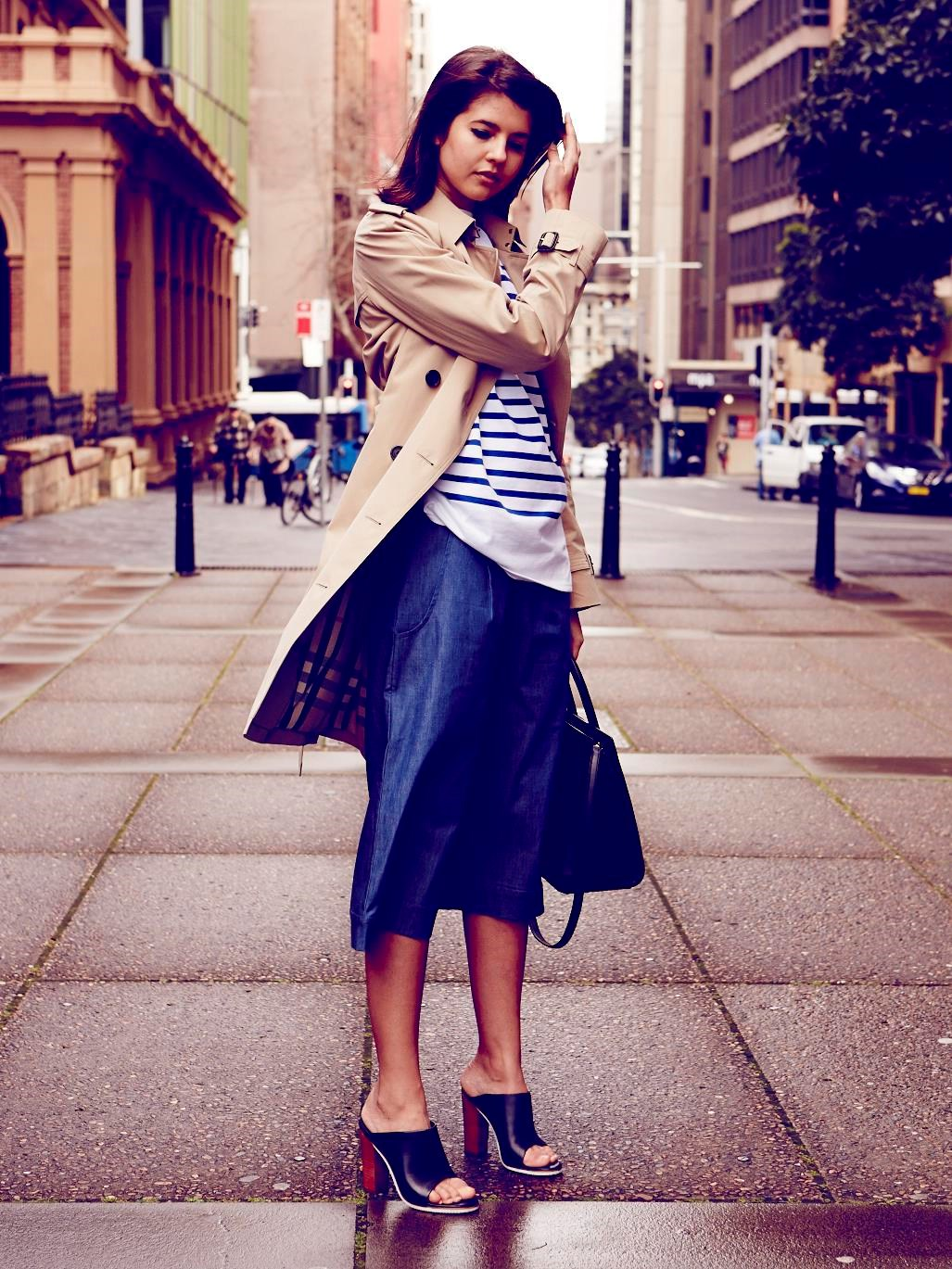 "<strong>TALISA SUTTON DESIGNER<br></strong> WEARS: <strong>The Westminster</strong> <br> (classic fit, lightly tapered waist, raglan sleeves)<br><br> ""A stripy Breton is my everyday top of choice and classic-chic worn under a beige trench. I love the look with denim culottes (a new trans-seasonal favourite) and the wide-leg silhouette balances my heeled Tibi mules.""<br><br> Trench, $2,495, Burberry, burberry.com; top, $179, Saint James, tuchuzy.com; culottes, $119, Cooper St, cooperst.com.au; mules, $419, Tibi, shopbop.com; bag, $3,300, Saint Laurent, Cosmopolitan Shoes, (02) 9362 0510"