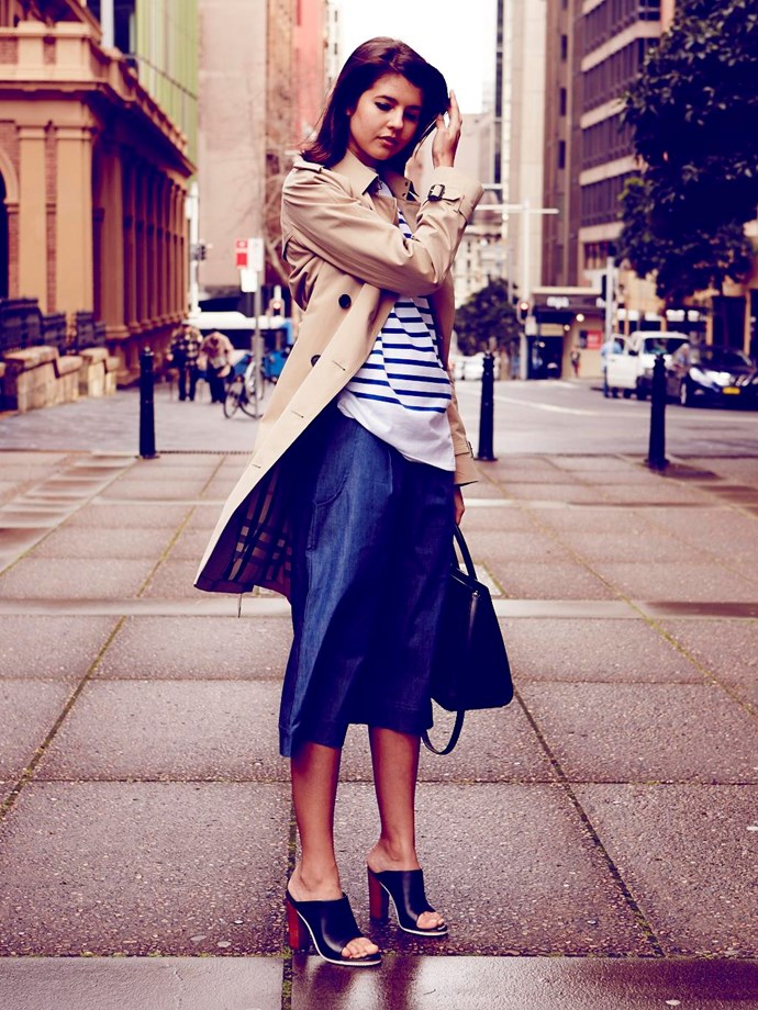 """<strong>TALISA SUTTON DESIGNER<br></strong> WEARS: <strong>The Westminster</strong> <br> (classic fit, lightly tapered waist, raglan sleeves)<br><br> """"A stripy Breton is my everyday top of choice and classic-chic worn under a beige trench. I love the look with denim culottes (a new trans-seasonal favourite) and the wide-leg silhouette balances my heeled Tibi mules.""""<br><br> Trench, $2,495, Burberry, burberry.com; top, $179, Saint James, tuchuzy.com; culottes, $119, Cooper St, cooperst.com.au; mules, $419, Tibi, shopbop.com; bag, $3,300, Saint Laurent, Cosmopolitan Shoes, (02) 9362 0510"""