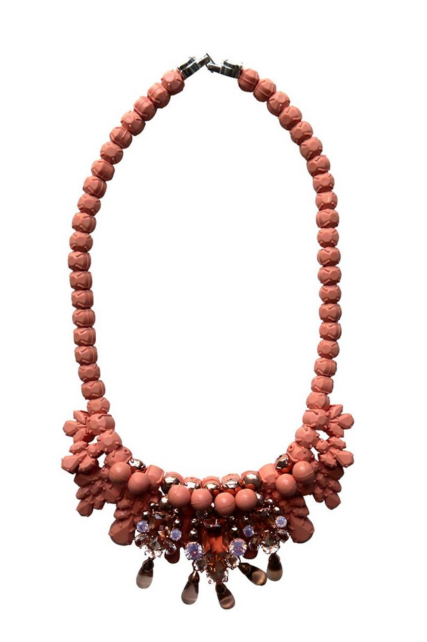 "Necklace, $875, EK Thongprasert at Parlour X, <a href=""http://www.parlourx.com.au/styles/accessories/fouette-neckpiece-coral-pink.html"">parlourx.com.au</a>"