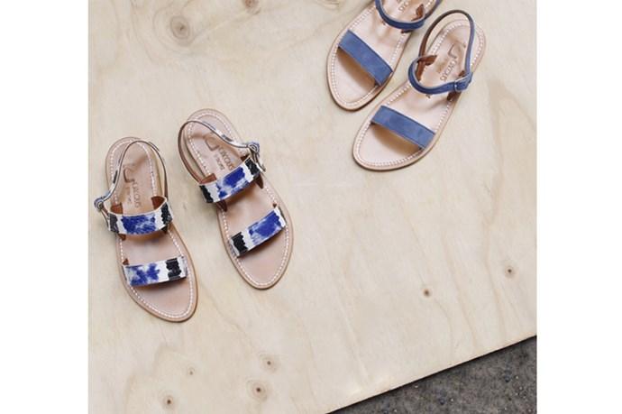 Printed Sandal, $315, blue sandal, $298, both K Jacques St Tropez, bloodorange.com.au