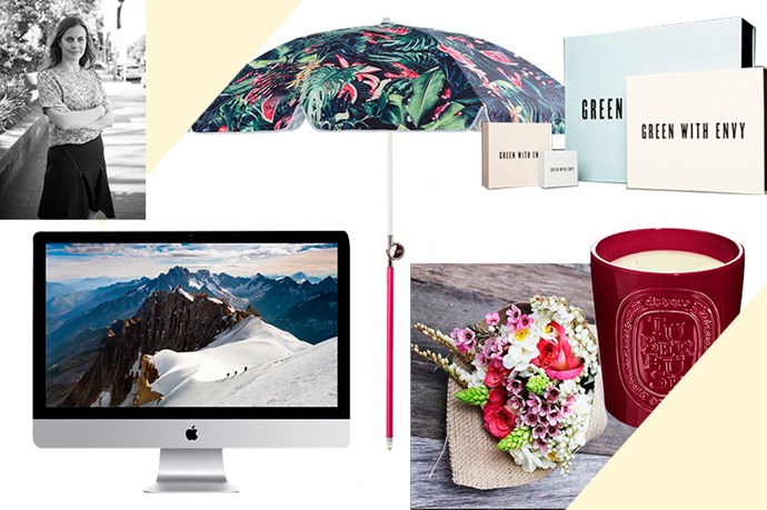 """<strong>SARAH BIRNBAUER, ASSOCIATE ART DIRECTOR<BR><BR></strong> Practical and cool, a big umbrella is my must-have beach accessory this summer, and I love the We Are Handsome print on this one.<BR> <em>Beach umbrella, $249, Basil Bangs, b<a href=""""http://basilbangs.com/product/jungle-fever-beach-umbrella/"""">asilbangs.com</a> </em> <BR><BR> Imagine how good my designs would be with this iMac Retina 5K display…<BR> <em>iMac, $2,999, Apple, <a href=""""http://store.apple.com/au/buy-mac/imac-retina"""">apple.com </a></em> <BR><BR> I wish I still lived in Melbourne so I could receive Daily Blooms' beautiful bouquets every week!<BR> <em>Weekly flowers for a month, from $115, Daily Blooms, <a href=""""http://dailyblooms.com.au/shop/flowers/weekly-flowers-for-a-month/"""">dailyblooms.com.au</a> </em> <BR><BR> The buyer for boutique Green With Envy and I must be soul mates.<BR> <em>Gift vouchers, from $100, Green With Envy, <a href=""""http://www.greenwithenvy.com.au/gift_guide.php"""">greenwithenvy.com.au</a> </em> <BR><BR> This supersized version of my favourite Diptyque scent is generous enough to see me through an entire summer of entertaining (or two). <em>Candle, $300, Diptyque, <a href=""""http://mecca.com.au/diptyque/large-outdoor-tuberose/I-017060.html"""">mecca.com.au</a> </em>"""