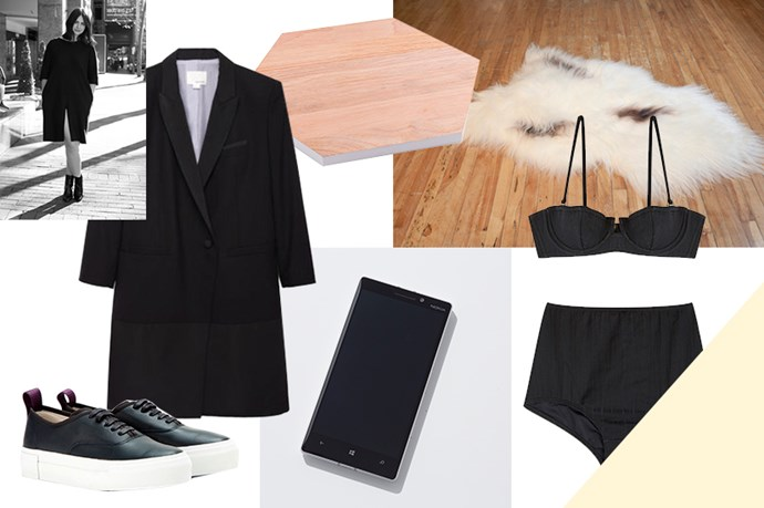 """<strong>ELLE MCCLURE, EDITORIAL COORDINATOR</strong><br><br> My love for this sexy spin on the blazer will outlast any IRL summer fling.<br> <em>Dress, $1,528, Band Of Outsiders, <a href=""""http://www.lagarconne.com/store/item.htm?itemid=25826&sid=24&pid="""">lagarconne.com</a> </em> <br><br> RiRi's a fan of this Prism high-waist cut, and I'm a fan of doing anything a la my favourite bad gal.<br> <em><a href=""""https://www.mychameleon.com.au/ipanema-bandeau-bikini-top-black-texture-p-2928.html?typemf=women"""">Bikini top</a>, $195, and <a href=""""https://www.mychameleon.com.au/hollywood-high-waist-bikini-bottoms-black-texture-p-2929.html?typemf=women"""">bikini bottom</a>, $150, Prism, mychameleon.com</em> <br><br> Me thinks this chopping board is better suited to housing my perfume bottles, crystals and jewellery.<br> <em>Board, $29.95, Kikki.K, <a href=""""http://www.kikki-k.com/30cm-chopping-board-live-bright"""">kikki-k.com</a> </em> <br><br> My penchant for Scandi-inspired furniture means I'm perpetually buying soft throws, cushions, etc., to be able to sit comfortably beyond the five-minute mark.<br> <em>Sheepskin, $199, Black Sheep White Light, <a href=""""http://blacksheepwhitelight.com/products"""">blacksheepwhitelight.com</a> </em> <br><br> The canvas version is on high rotation in my wardrobe, and now I'm looking to upgrade to the too-cool-for-school leather pair.<br> <em>Sneakers, $255, Eytys, <a href=""""http://www.mytheresa.com/en-au/mother-leather-sneakers-350291.html?utm_source=affiliate"""">mytheresa.com </a></em> <br><br> No iPhone 6 FOMO here.<br> <em>Lumia 930, $729, Nokia, <a href=""""http://www.microsoft.com/en-au/mobile/"""">microsoft.com</a> </em>"""