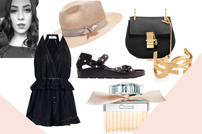 """<strong>DANNIELLE CARTISANO, FASHION ASSISTANT</strong><br><br> This is the perfect beach-to-bar piece for playful weekends to come.<br> <em>Playsuit, $385, Zimmermann, <a href=""""http://www.zimmermannwear.com/readytowear/clothing/jumpsuits-playsuits"""">zimmermannwear.com </a></em> <br><br> A must for keeping my face protected while enjoying the summer sun.<br> <em>Hat, $290, Hatmaker, h<a href=""""http://hatmaker.com.au/collections/women-s-hats/products/barnes"""">atmaker.com.au</a> </em> <br><br> I very rarely wear heels, especially in summer, so these Balenciagas are at the top of my list.<br> <em>Sandals, $713, Balenciaga, <a href=""""http://www.matchesfashion.com/product/189628 """">matchesfashion.com</a> </em> <br><br> There's nothing like a bit of Saint Laurent to jazz up my standard black uniform.<br> <em>Cuff, $804, Saint Laurent, <a href=""""http://www.net-a-porter.com/product/458127/Saint_Laurent/monogramme-gold-plated-cuff """">net-a-porter.com</a> </em> <br><br> This is the ultimate year-round scent and is the perfect decorative piece for my bedside table.<br> <em>Chloé Eau de Parfum, $130 for 50ml, Chloé, 1800 812 663</em> <br><br> I've been lusting over this bag for a long time; this year I hope it's not for nothing.<br> <em>Bag, $1904, Chloe, <a href=""""http://www.neimanmarcus.com/en-au/Chloe-Drew-Mini-Chain-Shoulder-Bag-Black/prod170900169_cat39010908__/p.prod?icid=&searchType=EndecaDrivenCat&rte=%252Fcategory.service%253FitemId%253Dcat39010908%2526pageSize%253D30%2526No%253D0%2526refinements%253D717&eItemId=prod170900169&cmCat=product"""">neimanmarcus.com</a> </em>"""