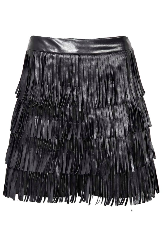"Shorts, $50, Boohoo, <a href=""http://www.boohoo.com/new-in/freya-leather-look-tassel-shorts/invt/azz18167 "">boohoo.com</a>"