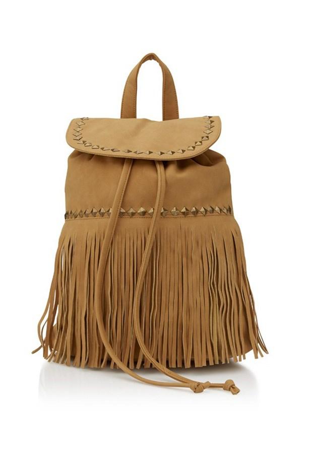 "Backpack, $49.95, Sportsgirl, <a href=""http://www.sportsgirl.com.au/accessories/bags/fringe-backpack-natural-all "">sportsgirl.com.au</a>"
