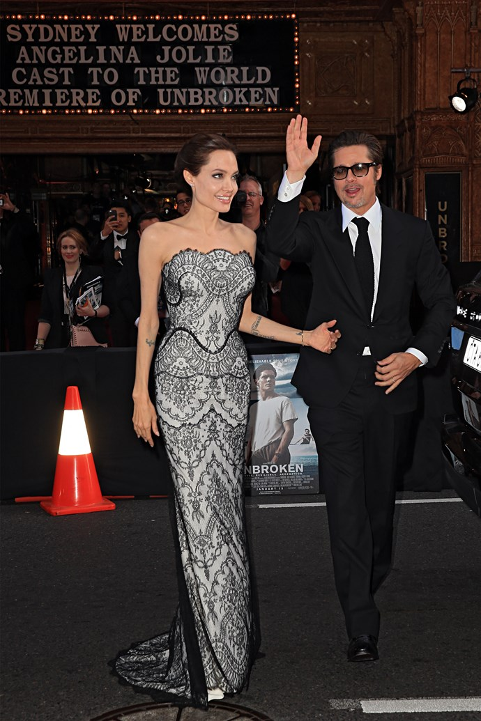 Angelina, in Gucci, arrives at the State Theatre with Brad Pitt