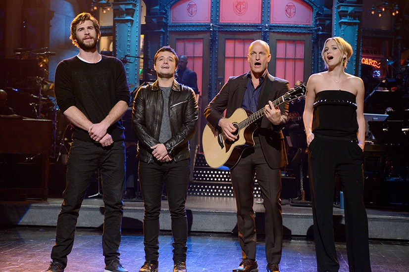 Rocking a black jumpsuit on Saturday Night Live