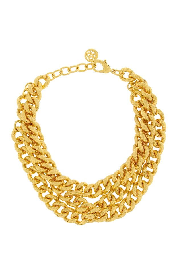 "Necklace, $414, Ben Amun, <a href=""http://www.net-a-porter.com/product/465934/Ben_Amun/gold-plated-chain-link-necklace "">net-a-porter.com </a>"