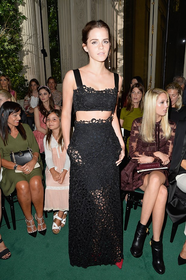 Emma Watson sits front row at the Valentino Haute Couture show in Paris in July 2014