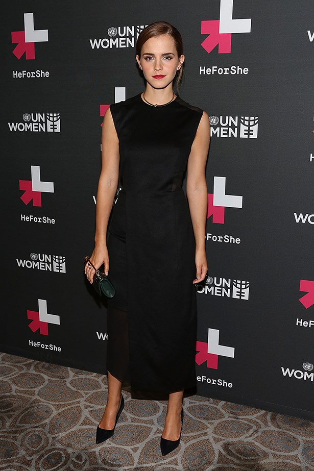 "The UN Women's Goodwill Ambassador attends the ""HeForShe"" after party  in September 2014 wearing a Hugo Boss dress and accessorising with a Jennifer Fisher choker, M2Malletier clutch and Jimmy Choo 'Abel' pumps"