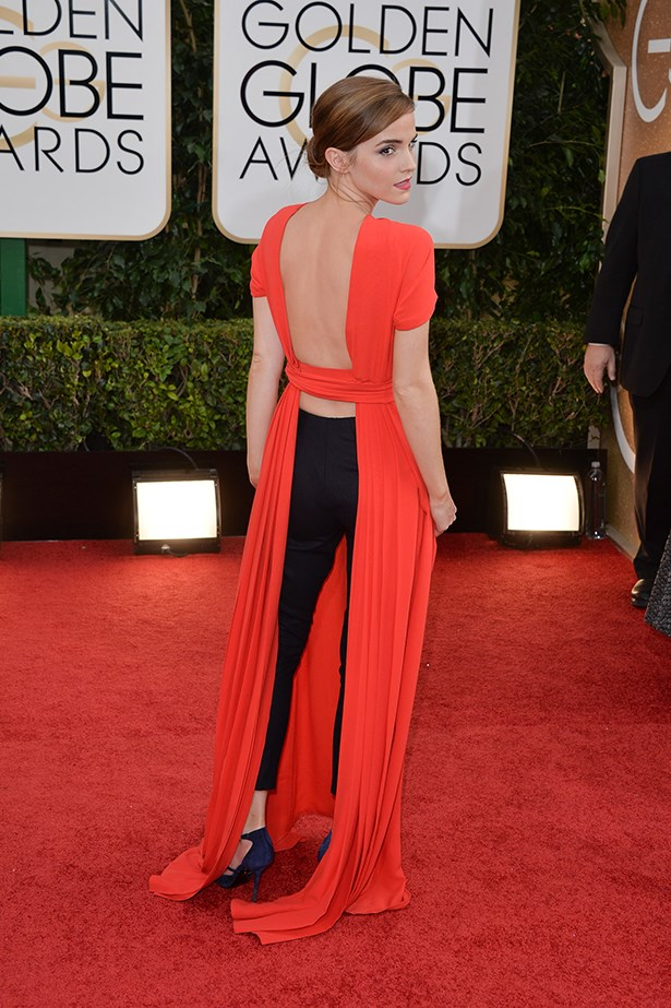Emma Watson wears a daring Christian Dior two-piece to the 2014 Golden Globe Awards
