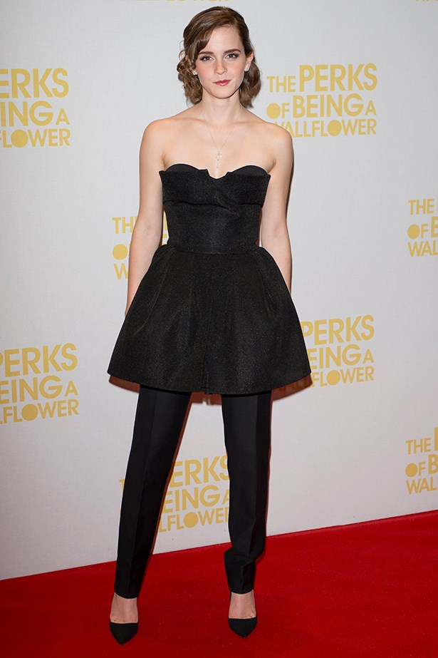 Emma Watson, wearing a Christian Dior two-piece, attends a London screening of her film <em>The Perks of Being a Wallflower</em> in January 2014