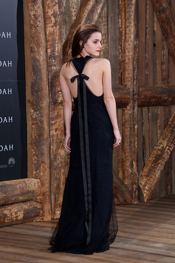 Emma Watson attends the German premiere of her film <em>Noah</em> in a Wes Gordon gown in March 2014