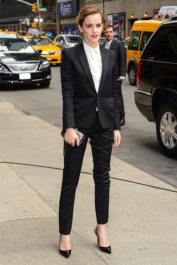Emma Watson rocks a black Saint Laurent suit for her appearance on <em>The Late Show with David Letterman</em> in New York in March 2014
