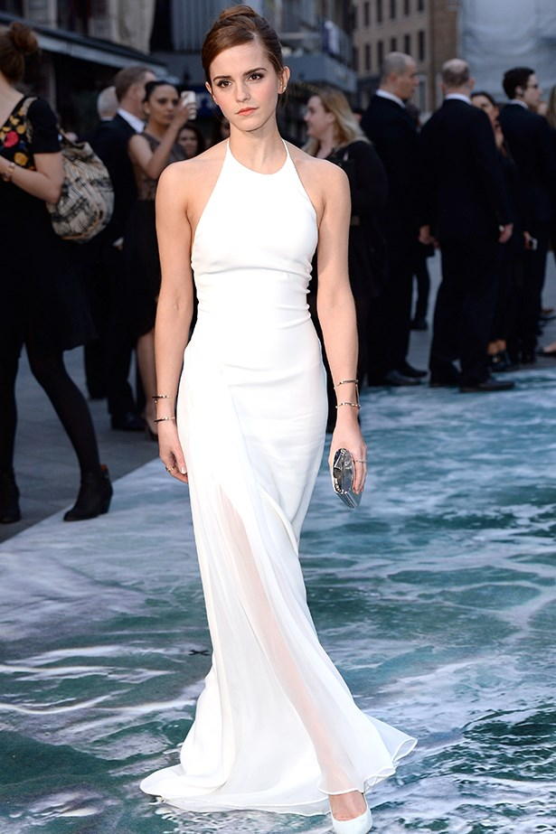 Emma Watson looks fresh in a Ralph Lauren gown, which she accessorised with a Jimmy Choo 'Carmen' clutch, 'Anouk' pumps and Jennifer Fisher cuffs, at the 2014 London premiere of <em>Noah</em>