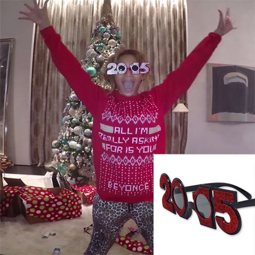 """<strong>2015 PLASTIC GLITTER GLASSES</strong> <br><br> There's still time to see out 2014, Yoncé-style, in these festive specs. <br><br> <em>2015 glasses glittered plastic, $6.95, <a href=""""http://www.lombard.com.au/"""">lombard.com.au</a></em>"""