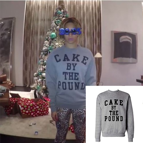 """<strong>CAKE BY THE POUND SWEATER</strong> <br><br> Ghetto get-up that's available to purchase from the official Beyoncé store, obvs. <br><br> <em>Cake by the Pound Sweater, Shop by Beyonce, $75, <a href=""""http://shop.beyonce.com/"""">shop.beyonce.com</a></em>"""