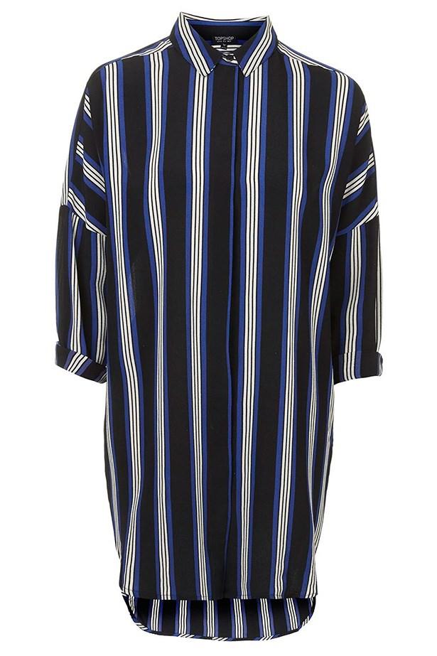 """Dress, $62, Top Shop, <a href=""""http://www.topshop.com/en/tsuk/product/new-in-this-week-2169932/striped-grandad-shirt-dress-3759408?bi=401&ps=200 """">topshop.com</a>"""