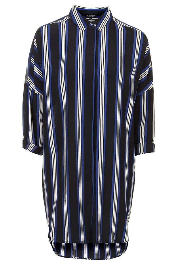 "Dress, $62, Top Shop, <a href=""http://www.topshop.com/en/tsuk/product/new-in-this-week-2169932/striped-grandad-shirt-dress-3759408?bi=401&ps=200 "">topshop.com</a>"