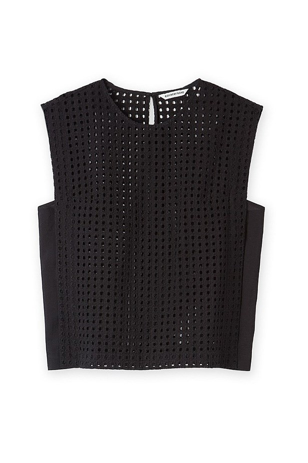 """Top, $99.95, Country Road, <a href=""""http://www.countryroad.com.au/shop/woman/clothing/t-shirts-and-tops/60174112/Broderie-Tabbard-Shell-Top.html"""">countryroad.com.au</a>"""