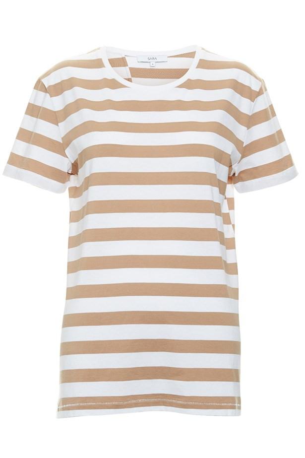 "T-Shirt, $69, Saba, <a href=""http://www.saba.com.au/bold-stripe-seam-tee-9321143764545.html "">saba.com.au</a>"