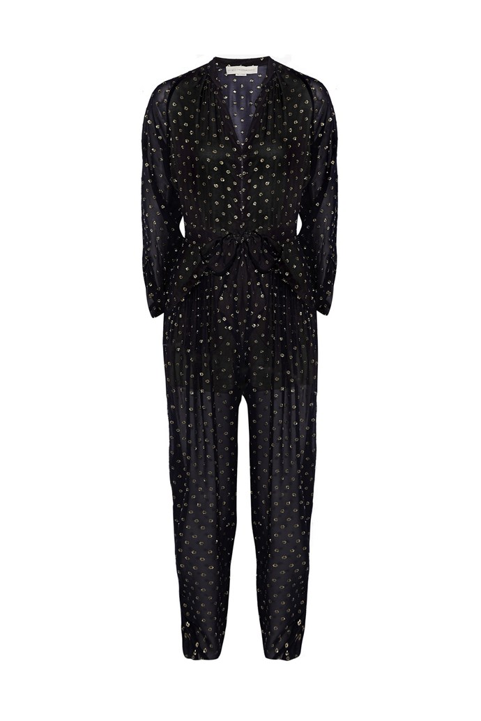 "Jumpsuit, $2,790, Stella McCartney, <a href=""http://www.net-a-porter.com/product/504612/Stella_McCartney/monia-silk-blend-fil-coupe-jumpsuit"">net-a-porter.com</a>"