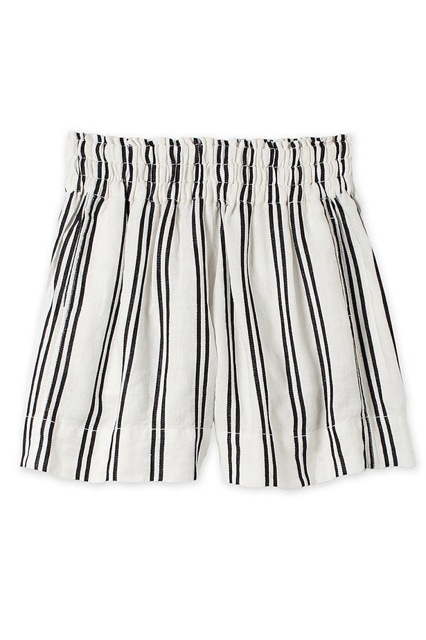 "Shorts, $129, Country Road, <a href=""http://www.countryroad.com.au/shop/woman/clothing/shorts/60175642/Stripe-Linen-Flippy-Skort.html"">countryroad.com.au</a>"