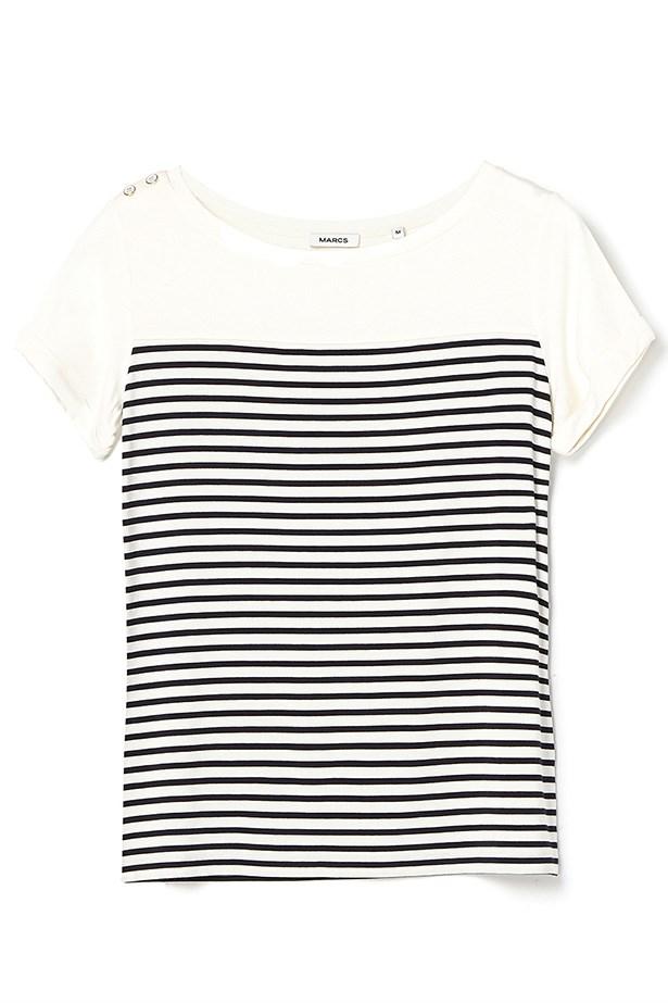 "T-Shirt, $79, Marcs, <a href=""http://www.marcs.com.au/product-detail.html?styl=13648&clr=IVORY/NAVY&cat=75#.VHZVkzGUdzg"">marcs.com.au</a>"