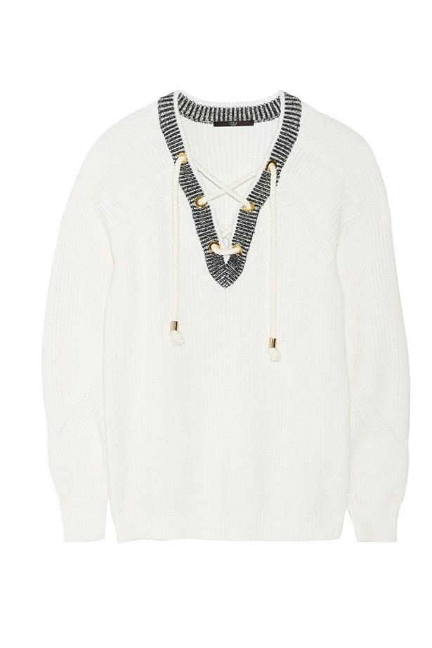 """Sweater, $529, Tibi, <a href=""""http://www.net-a-porter.com/product/505197/Tibi/lace-up-cotton-sweater"""">net-a-porter.com</a>"""