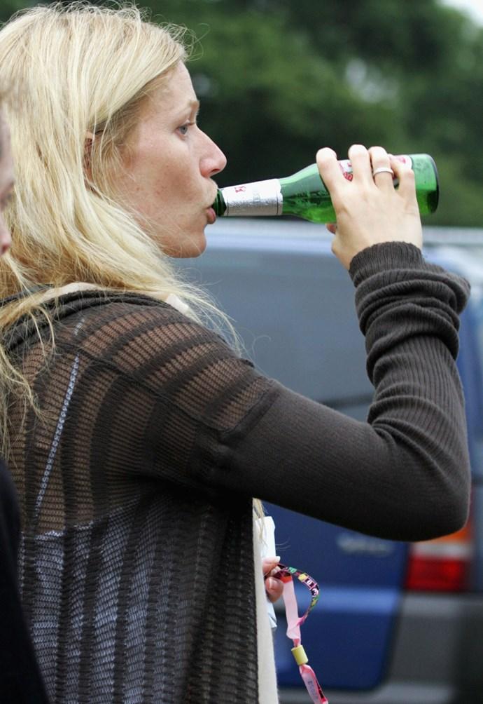 Gwyneth Paltrow drinking