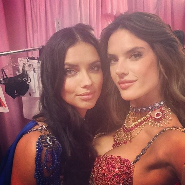 Alessandra Ambrósio and Adriana Lima celebrate their (reportedly) last show with a sweet snap in their matching Dream Angels Fantasy Bras.