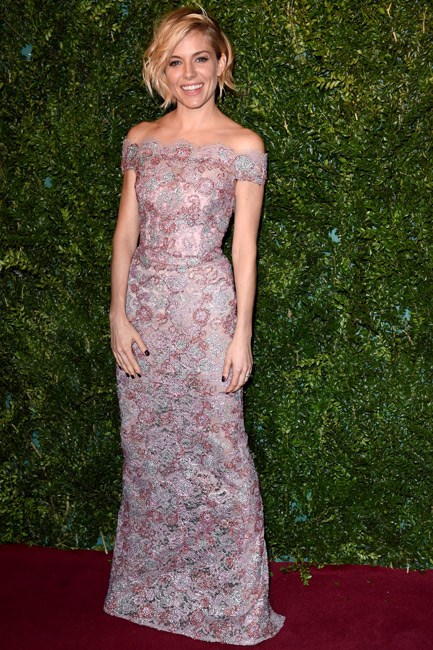 A little bit boho and <em>a lot</em> elegant, Sienna Miller's Burberry gown showed just the right amount of skin.