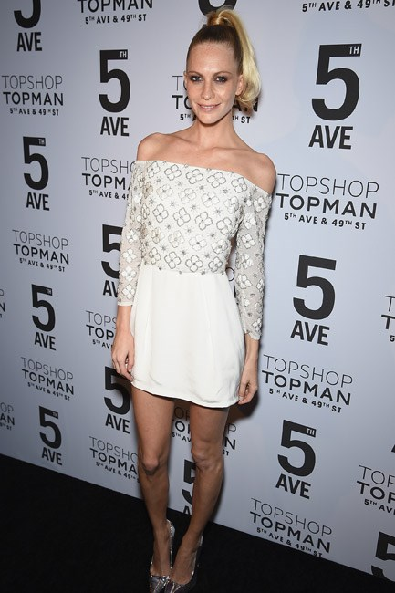 A high-ponytail topped off Poppy Delevingne's Topshop look, letting the shoulders do the talking.