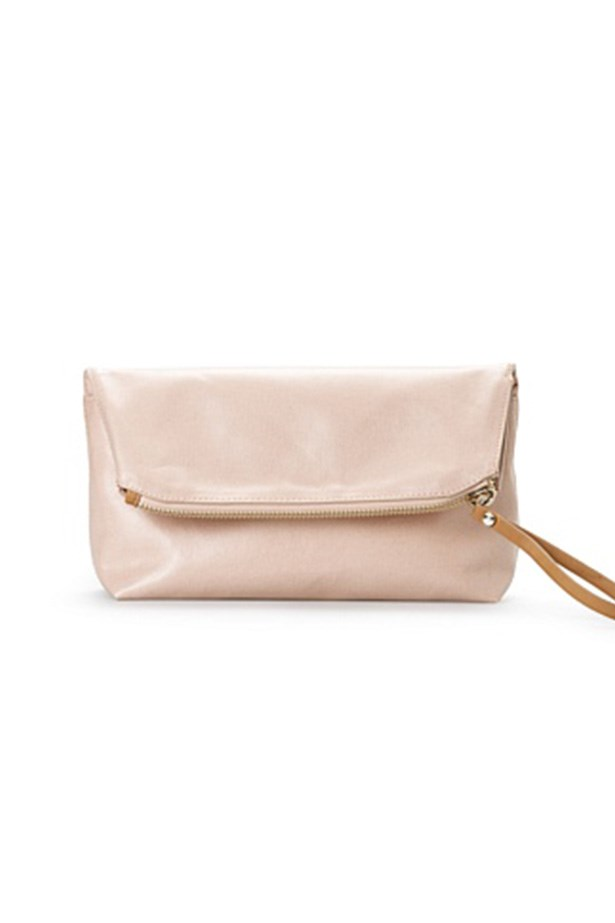 "Clutch, $79.95, Country Road, <a href=""http://www.countryroad.com.au/shop/woman/accessories/handbags/fold-soft-clutch-60167774-695"">countryroad.com.au</a>"