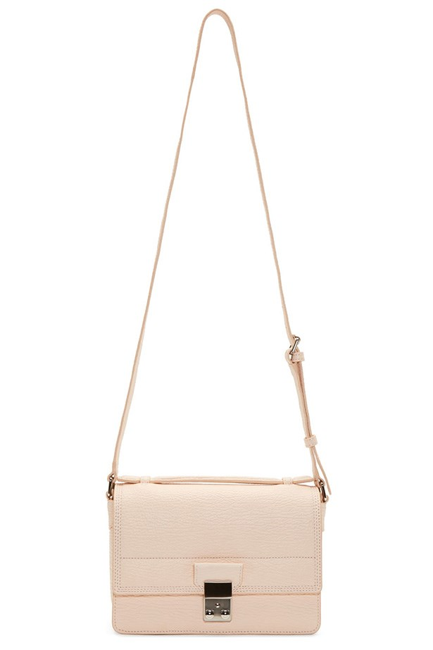 "Bag, $959, 3.1 Phillip Lim, <a href=""https://www.ssense.com/women/product/31_phillip_lim/peach-grained-leather-pashli-mini-messenger-bag/378303"">ssense.com</a>"