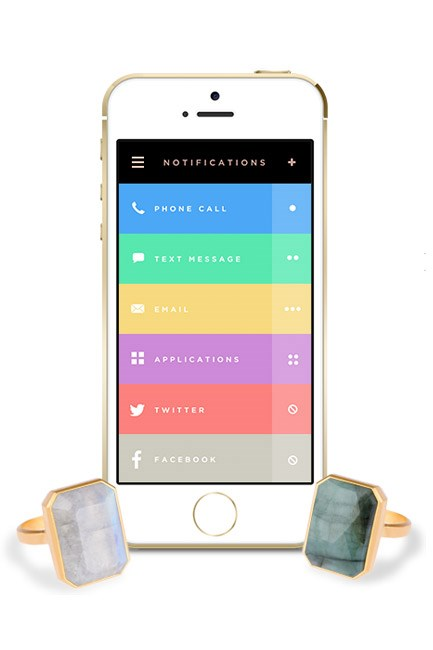 """<strong>Ringly</strong><br><br> One of the most accessibly-priced pieces of wearable tech, Ringly is a costume-jewellery style ring that alerts you to your notifications via a customisable vibration and colour-coding system.<br><br> <strong>The design:</strong> Look-at-me rings with an 18K matte gold-plated setting and precious and semi-precious stones – with the occasional limited edition version available, too.<br><br> <strong>The technology:</strong> Using an accompanying app, you set the ring to feature up to 4 vibration patterns  (think: one buzz from the BF, two buzzes from the boyfriend etc. etc.) and flash up to 5 different colours, to signify messages, texts, emails and more that are coming through to your phone.<br><br> <strong>On the radar:</strong> <a href=""""https://ringly.com/"""">ringly.com</a>."""