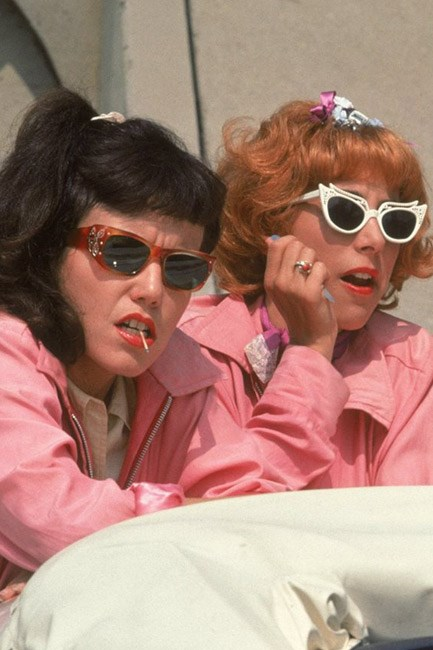 "Summer lovin': the ""Pink Ladies"" in <em>Grease</em> (1978) had some <em>major</em> eye-candy getup."