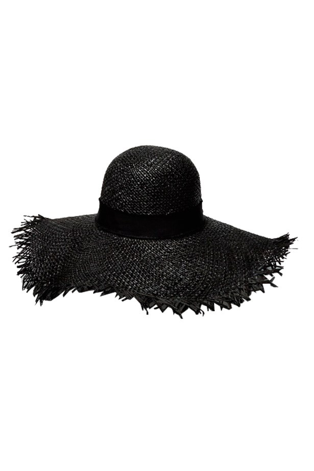 "Hat, $195, Nerida Winter, <a href=""https://www.neridawinter.com/product/woodstock-blk/ "">neridawinter.com</a>"