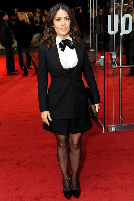 <b>Dare: Go on a gender bender</b><br> Salma Hayek and Saint Laurent know how to borrow-from-the-boys – with a side of sexy – and you should too. Tuxedo up top and <em>va-va-voom</em> legs to boot.