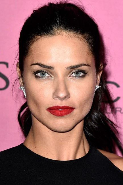 <strong>Eyeshadow + Eyeliner + Lipstick = Adriana Lima</strong><br><br> Red and gold go together like nothing else. Presenting: the ultimate Christmas party look.