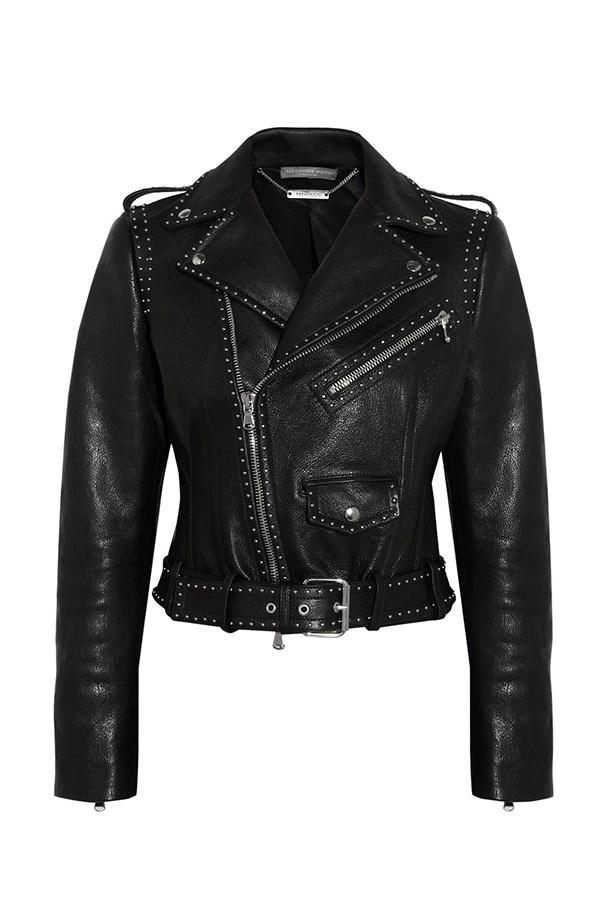 """Jacket, $6170, Alexander McQueen, <a href=""""http://www.net-a-porter.com/product/452990/Alexander_McQueen/studded-leather-biker-jacket"""">net-a-porter.com</a>"""