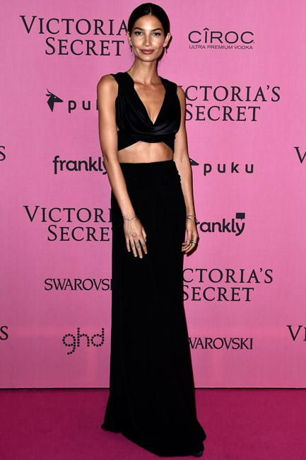 Lily Aldridge showed some skin in a luxe Donna Karan look.