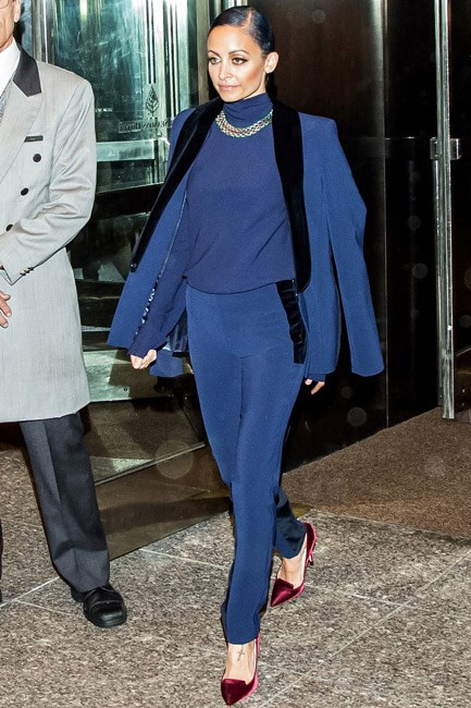 Nicole Richie's Safiyaa suit and Jimmy Choo shoes came with all the trimmings… of the velvet variety.